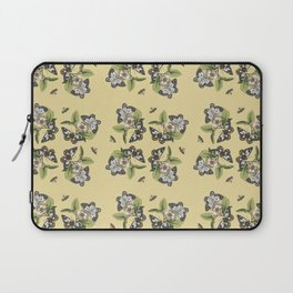 Butterflies and Camellias on Canary Yellow Pattern Laptop Sleeve