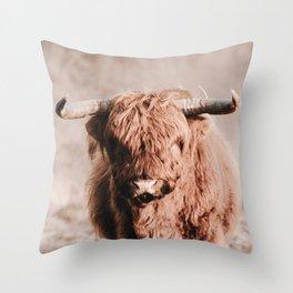 Scottish Highlander Photo   Wildlife Photography   Brown Scottish Highlander Throw Pillow