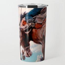 """Vintage Western Painting """"Bucking"""" by N C Wyeth Travel Mug"""