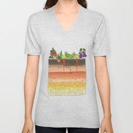 Earth soil layers vegetables garden cute educational illustration kitchen decor print Unisex V-Neck
