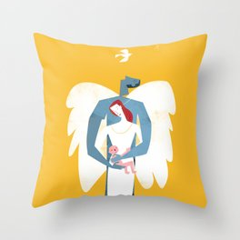 New Christmas Family in Yellow Throw Pillow
