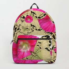 FUCHSIA PINK HOLLYHOCKS YELLOW BUTTERFLIES Backpack