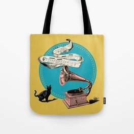 The Cat and the Song Cat (emerald) Tote Bag