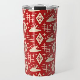Mid Century Modern Boomerang Abstract Pattern Red and Tan 261 Travel Mug