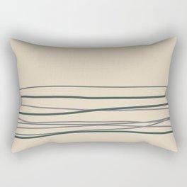 Magic Dust Purple, Night Watch & Juniper Berry Green Horizontal Lines on Alpaca Wool Cream Color Rectangular Pillow