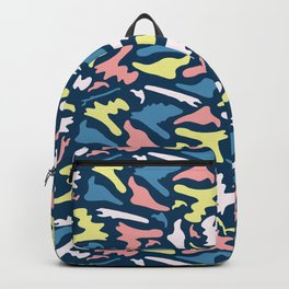 Memphis Style Camouflage Shapes Seamless Vector Pattern, Drawn Backpack