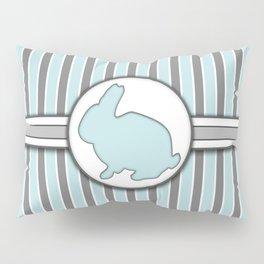 Rabbit on Blue Stripes Pattern Design Pillow Sham
