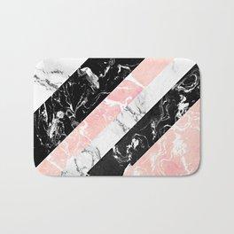 Modern black white pastel pink marble color block stripes Bath Mat