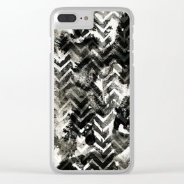 Black & White Chevron Ink Spill Clear iPhone Case