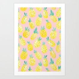 Watercolor Pineapples on Pink Art Print