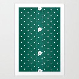 Green Polka Dot Button Up Art Print