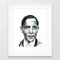 obama Framed Art Prints featuring Obama by Bridget Davidson