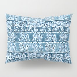 ELEPHANT SAFARI Tribal Indigo Ikat Pattern Pillow Sham