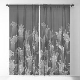 Halloween Horror Zombie Hand Pattern Sheer Curtain