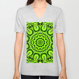 Spring Garden Mandala, Abstract Star Burst Delightful Spirals Unisex V-Neck