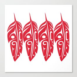 Four Red Feathers Canvas Print