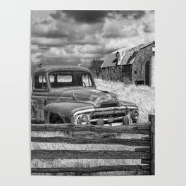 Black and White of Rusted International Harvester Pickup Truck behind wooden fence with Red Barn in Poster
