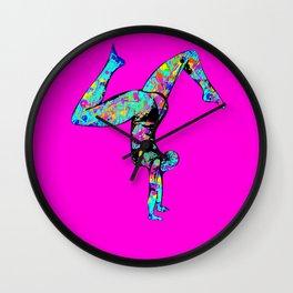 Baha Hand Stand PInk Wall Clock