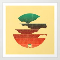 retro Art Prints featuring Go West by Picomodi