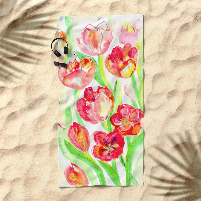 Mothers Day Tulips Beach Towel