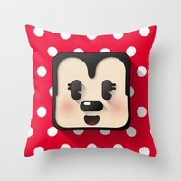 minnie mouse Throw Pillows featuring minnie mouse cutie by designoMatt