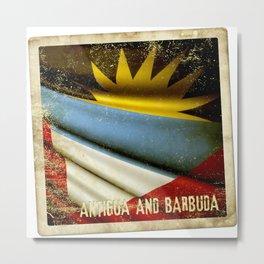 Grunge sticker of Antigua and Barbuda flag Metal Print