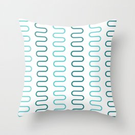 Green Curved Abstract Lines Pattern Throw Pillow