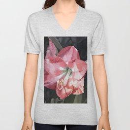 Pink Amaryllis Watercolor Botanical Garden Flower Painting Nature Art Unisex V-Neck