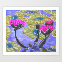Lily pads and Water Lilies Art Print