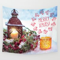 merry christmas Wall Tapestries featuring Merry Christmas by UtArt