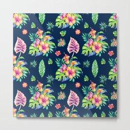 Colorful tropical flowers pattern Metal Print