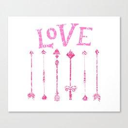 Retro Love with Tribal Arrows Canvas Print
