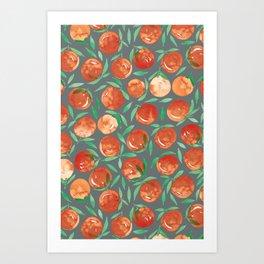 Winter Oranges | Grey Background Art Print