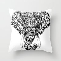 ornate Throw Pillows featuring Ornate Elephant Head by BIOWORKZ