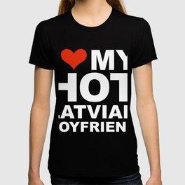 I Love my hot Latvian Boyfriend Valentine's Day Latvia T-shirt