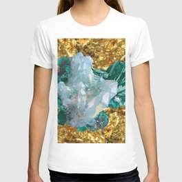 WHITE QUARTZ &  AQUAMARINE CRYSTALS  ON GOLD T-shirt