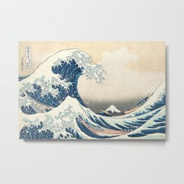 The Great Wave off Kanagawa by Katsushika Hokusai from the series Thirty-six Views of Mount Fuji Metal Print