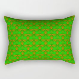 Chaotic pattern of green squares and orange pyramids. Rectangular Pillow