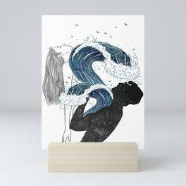 Through waves and galaxy. Mini Art Print