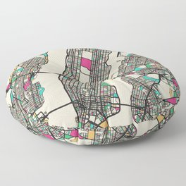 Colorful City Maps: Manhattan, New York Floor Pillow