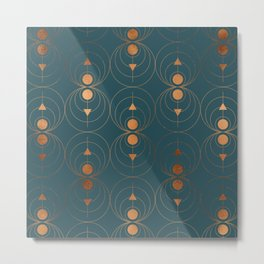 Copper Art Deco on Emerald Metal Print