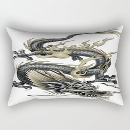 Lucky Chinese Dragon In Gray and Gold Rectangular Pillow