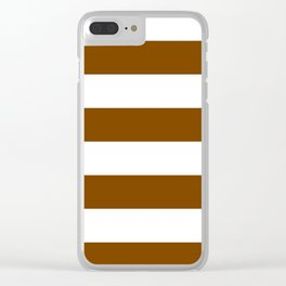 Wide Horizontal Stripes - White and Chocolate Brown Clear iPhone Case
