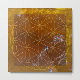 Orange Calcite // Flower of Life Metal Print