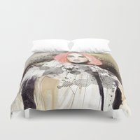 fashion illustration Duvet Covers featuring FASHION ILLUSTRATION 13 by Justyna Kucharska