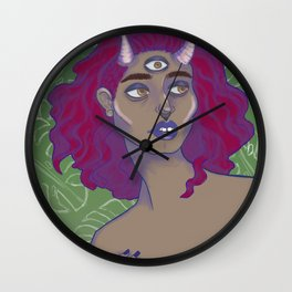 horned lady Wall Clock