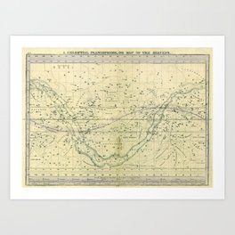 A Celestial Planisphere or Map of The Heavens Art Print
