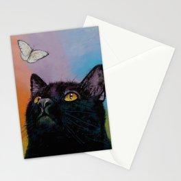 Black Cat Butterfly Stationery Cards
