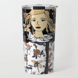 Fashion illustration with floral coat Travel Mug