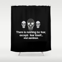 zombies Shower Curtains featuring Fear Zombies by Spooky Dooky